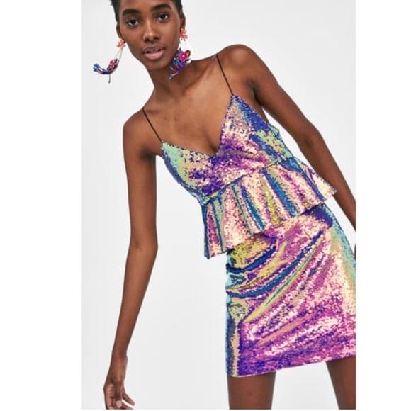 731b452a Zara Dresses | Iridescent Sequin Peplum Dress 2018 | Poshmark